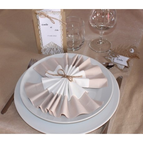 Serviette de table pliage ventail serviette double - Pliage serviette de table ...